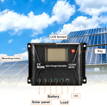 For PWM Solar Charge Controller 12V 24V Auto Dual USB LCD Display Load Discharger Solar Intelligent Regulator