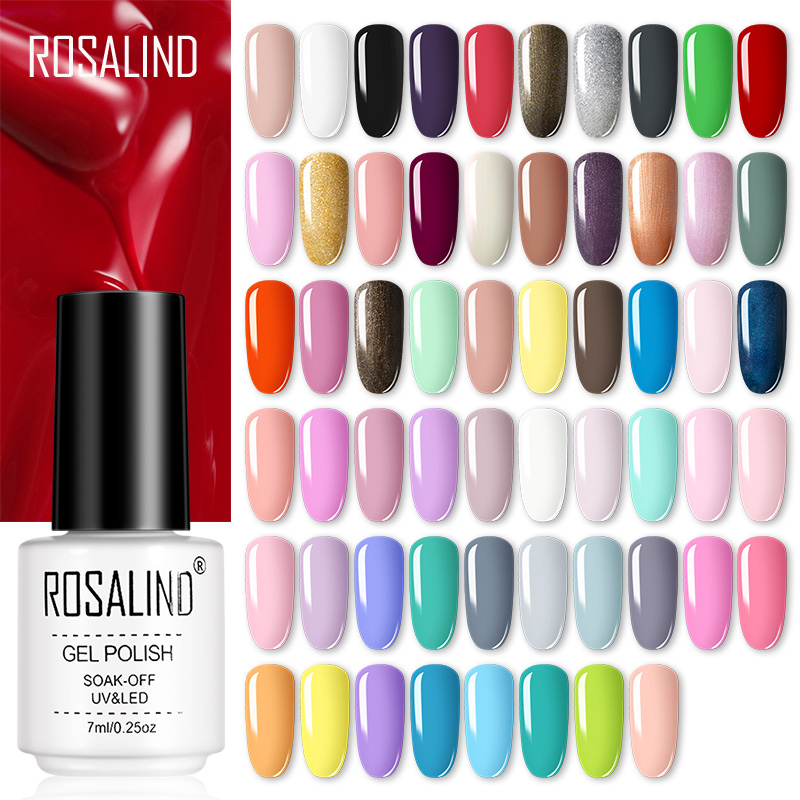 ROSALIND Gel Nail Polish Semi Permanent Nail Art Base And Top Coat Hybrid Varnishes All For Manicure Gel Lacquer Polish Primer