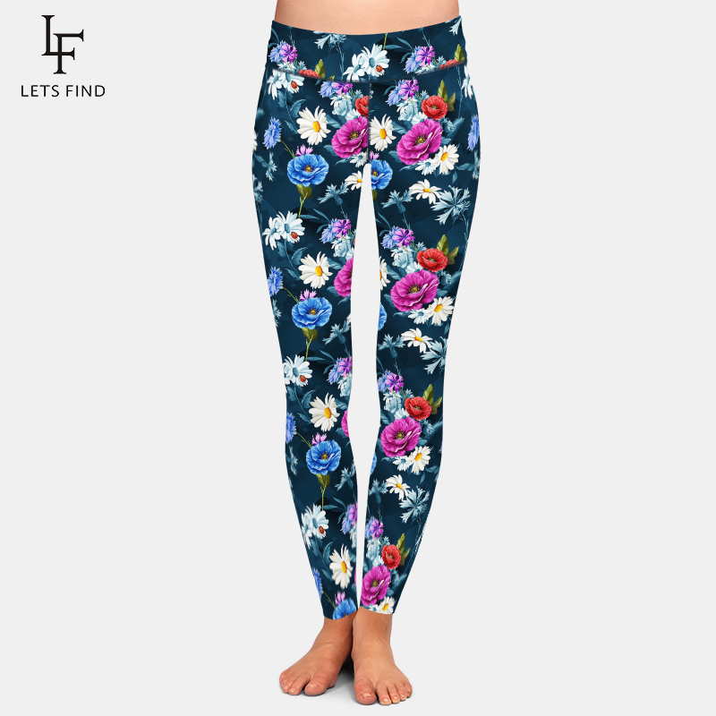 LETSFIND Push Up Leggings High Quality Women Fashion Poppy And Chamomile Printing High Waist Plus Size Fitness Leggings