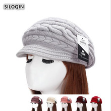 SILOQIN  Lady Brand Beret For Woman Autumn Winter Trend Rabbit Hair Knitted Hat Fashion Warm Thicken Ear Protection Hats