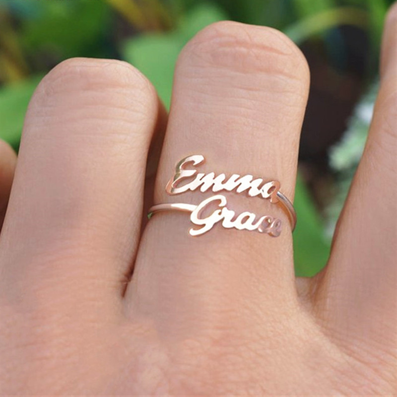 Wedding Bands Personalized Bands Personalized Ring Sterling Set Of 3 Copper Heart Ring Mothers Rings Name Rings Custom Name Ring