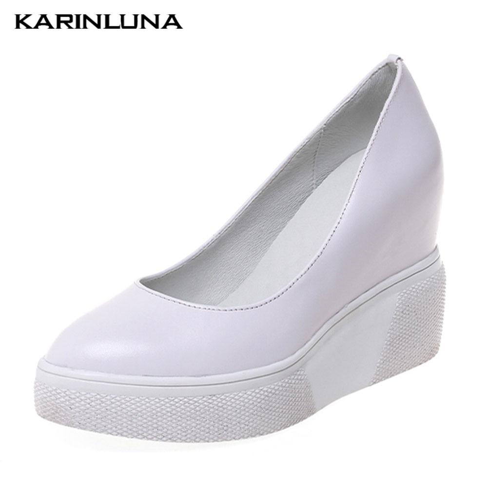 Karinluna Brand Elegant Genuine Leather Inner High Heels Pumps Platform Shoes Woman Party Ol Pumps Women Heels