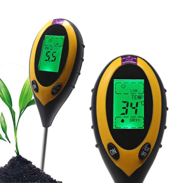Цифровой термометр 4 в 1, садовый измеритель влажности почвы и Ph, с ЖК дисплеем и подсветкой
