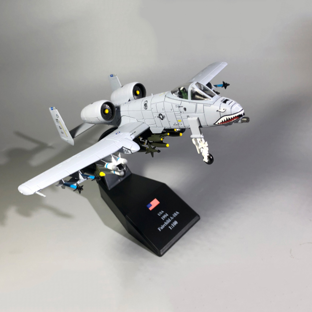 1:100 1/100 Scale US A-10 Thunderbolt II Warthog Hog Attack Plane Fighter Diecast Metal Airplane Aircraft Model Children Boy Toy
