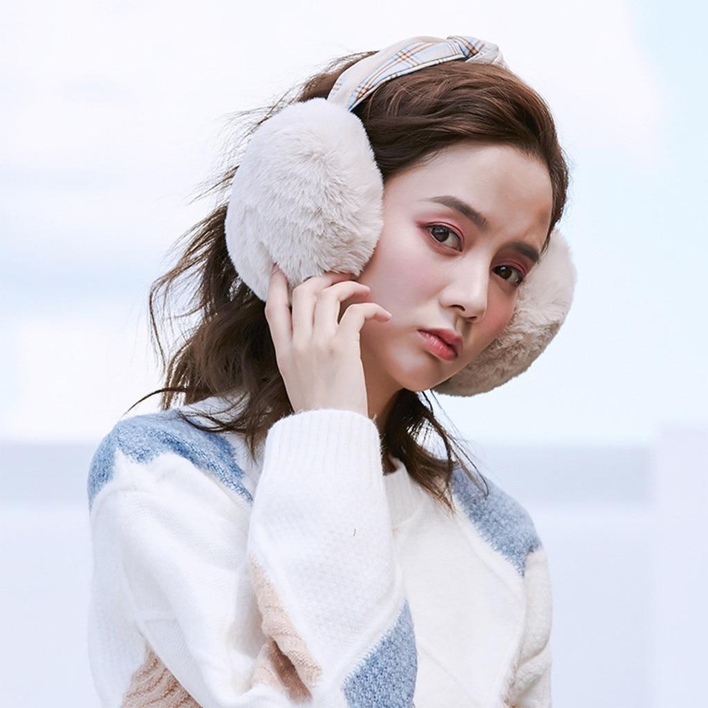 Fur Winter Ear Warmer Women Foldable Winter Earmuffs Faux Fur Hamburger Ear Warmer Plush Headband Winter Accessories Ear Muffs
