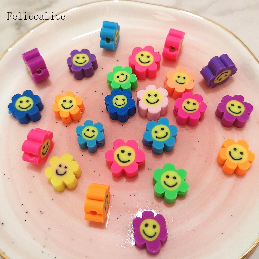 20pcs 10mm Smiley Face Flower Polymer Clay Shape Spacer Beads For DIY Handmade Jewelry Craft Accessories