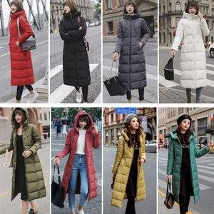 Image 5 - Lange Hooded Thicken Slim Warm Down Jassen Vrouwen Casual Solid Pockets Rits Winter Katoen Uitloper Vrouwelijke Plus Size Jas Jassen