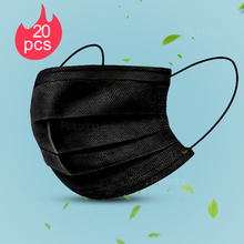 20pcs black full protective face mask facial protection disposable masks anti dust air pollution PM2.5 mouth shield mascarillas