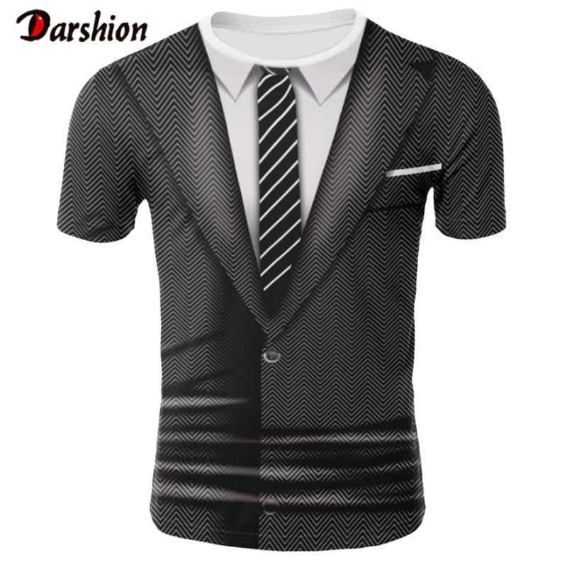 Letnia odzież Fahion zabawny garnitur 3D nadrukowany wzór bluzy dla mężczyzn na co dzień z krótkim rękawem O-neck letnie ubrania Plus rozmiar 4XL