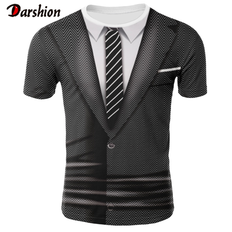 Summer Fahion Clothing Funny Suit 3D Printed Pattern Sweatshirts For Men Casual Short Sleeve O-neck Summer Clothes Plus 4XL Size