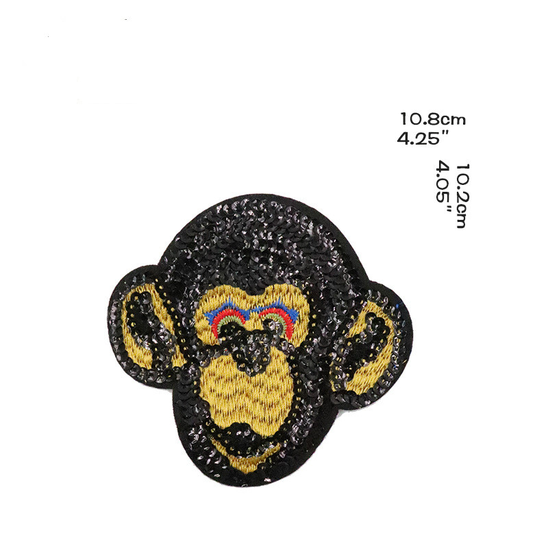 New National Sequins Patch Beads Embroidered Monkey Head Cloth Paste DIY Clothing Box Packaging Decorative Paste Cloth