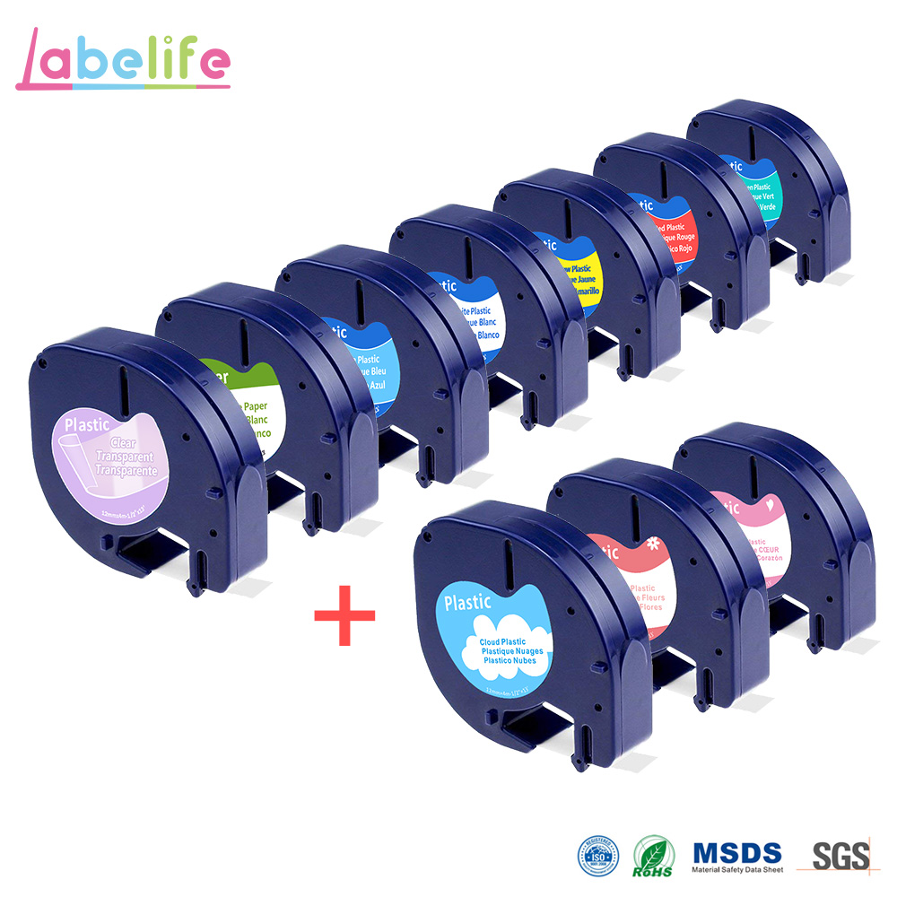 Labelife 1pcs DYMO LetraTag Label Tape 91330 Black On White Paper 12mm X 4m LT 91330 Marker Ribbons Replace For DYMO Printer
