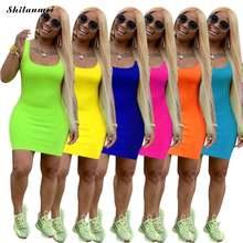 Сексуальное однотонное облегающее платье для женщин лето 2020