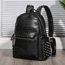 Korean Crocodile Rivet Shoulder Bag Trend Backpack Computer Bag Student Bag Men's and Women's Bag Backpack tidog korean male bag retro backpack and trend travel backpack