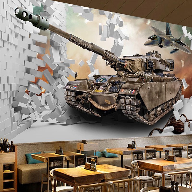 Custom Photo Wallpaper 3D Stereo Broken Wall Tank Military Theme Murals Restaurant Boy's Bedroom Background Wall Decor Wallpaper