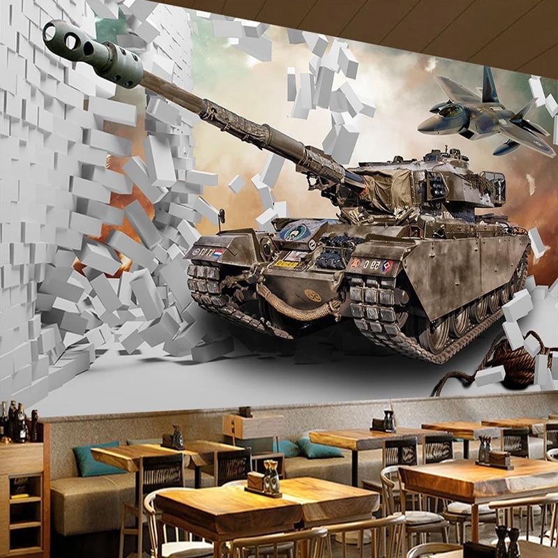 Custom Photo Wallpaper 3D Stereo Broken Wall Tank Military Theme Murals Restaurant Boy's Bedroom Background Wall Decor Wallpaper