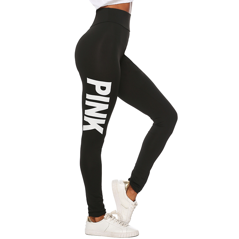 2019 New Women PINK letter printing Leggings Push Up Trousers Sexy Casual Warm High Waist Legging Elastic Pencil Pants Plus size 27