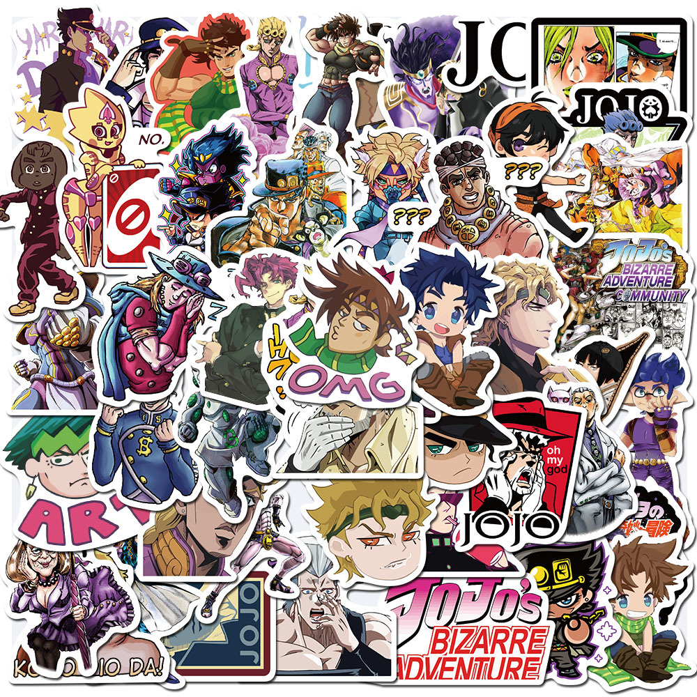50PCS/Pack Japan Anime JoJo Stickers Bizarre Adventure DIY Decal Laptop PC Phone Guitar Suitcase Luggage Sticker Kid Toy
