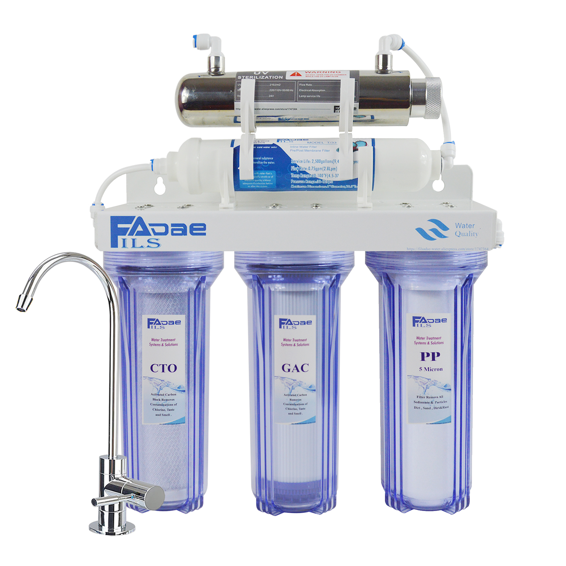 Premium Quality!5-Stage Ultraviolet Drinking Water Filter UV Sterilizer Purifier For Impurities,Bad Taste,Odor&Harmful Bacteria