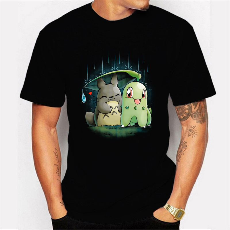 Ghibli Pokemon Men's T-shirts Fashion Anime Printed Hipster Funny T Shirt Men Summer Casual Street Hip-hop Tee Shirt Male Tops image