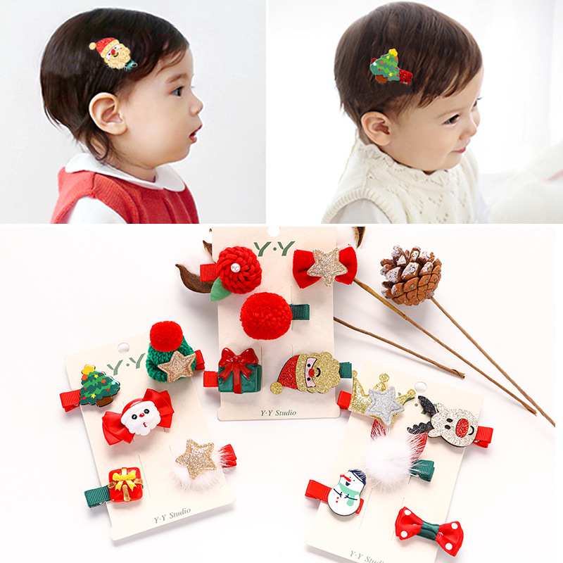 2~5pieces/set Christmas Hairpin Santa Hat Snowman Hairpin Children Hair Accessories Headdress Princess Christmas Gift