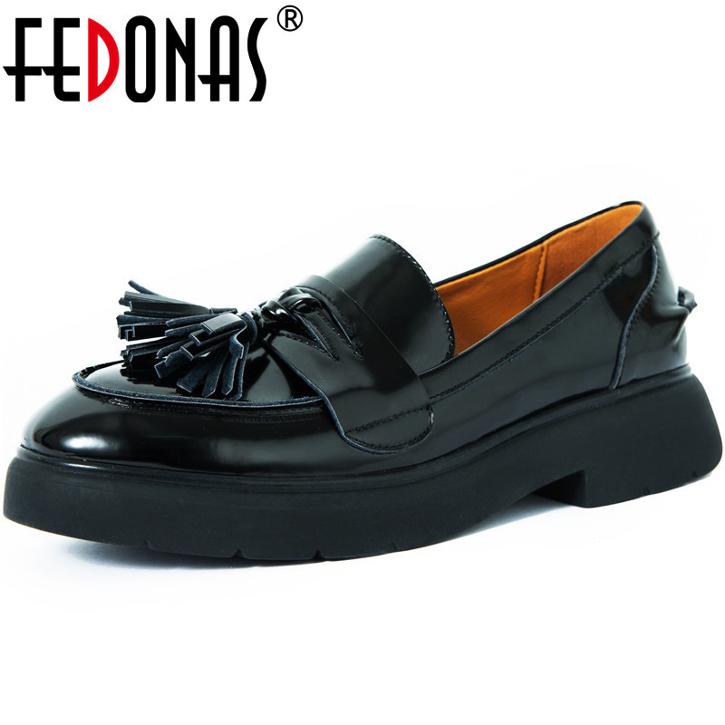 FEDONAS New Women Office Lady Working Pumps Spring Summer Square Heels Concise Shoes Patent Leather Brand Shoes Woman