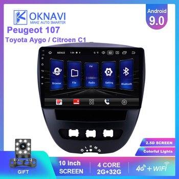 цена на OKNAVI Android 9.0 Car Multimedia Video Player For Peugeot 107 Toyota Aygo Citroen C1 2005-2013 Radio Stereo GPS Navigation 4G