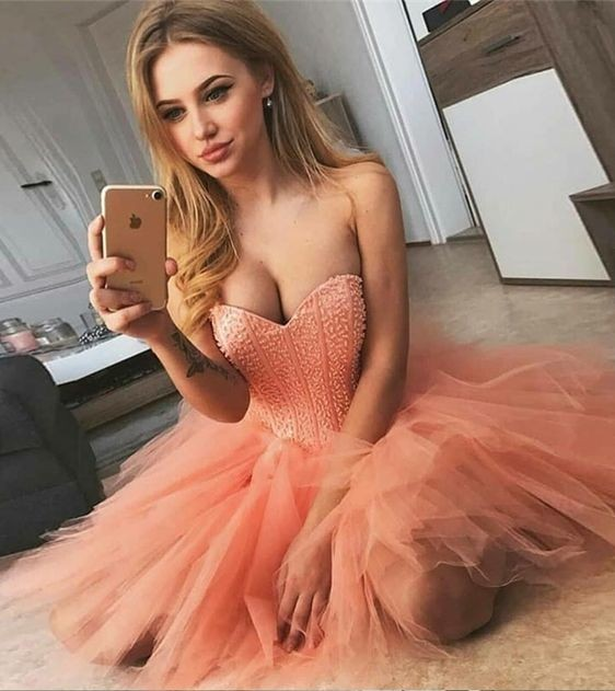 2020 Coral Beaded Sweetheart Homecoming Dresses Sexy Party Dresses Tulle Cocktail Dress Mini Prom Gown Vestidos De Graduacion