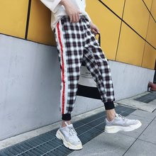 Plaid Pants Men INS 2020 Mens Cotton Streetwear Sweatpants Male Korean