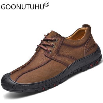 2020 style fashion men's shoes casual genuine leather sneakers male brown black lace up shoe man flats waterproof shoes for men