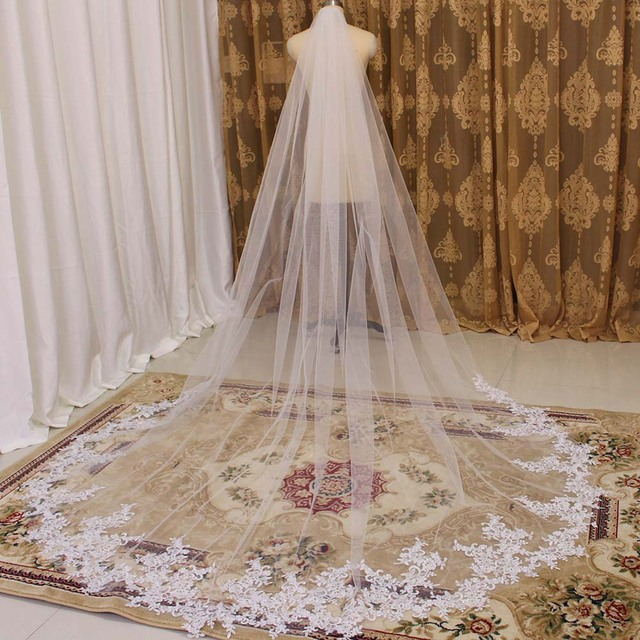 High Quality 3 Meters Long Wedding Veil Lace Appliques Bridal Veil with Comb White Ivory Veil for Bride Welon