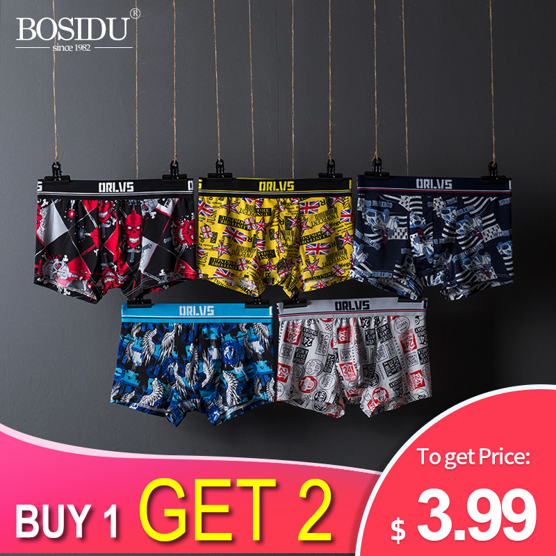 2019 New Breathable Printing Men Boxers Comfortable Cutton Pure Men's Underwear Male Panties Underpants