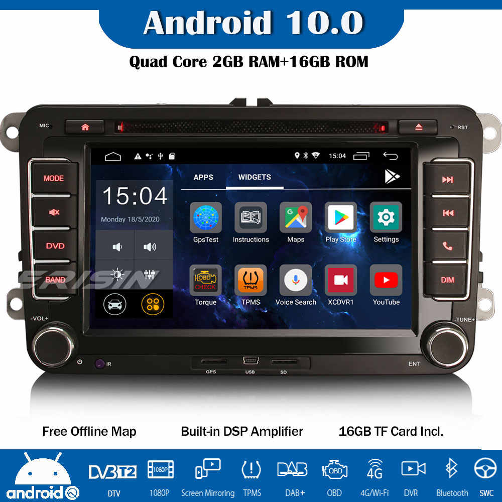 Erisin DAB + DSP 10.0 Auto Radio GPS DVD CarPlay Navi OBD untuk VW Passat Polo Golf 5/6 Tiguan Caddy kursi Skoda