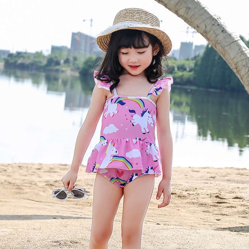 KID'S Swimwear GIRL'S Child South Korea Cute Skirt Tour Bathing Suit Baby Infants One-piece Small CHILDREN'S Princess Swimwear P