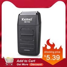 Kemei KM-1102 Аккумуляторная Беспроводная Бритва для мужчин с двумя лезвиями, возвратно-поступательная Бритва для бороды, уход за лицом, многофункциональный мощный триммер