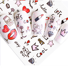 1 Sheet Pink Diamond Milk Lipstick Partten Nail Decals Nail Art Water Transfer Sticker Polish Wraps Beauty Accessories BEWG2107