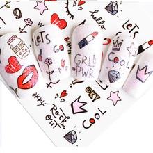 1 vel Roze Diamant Melk Lipstick Partten Nail Decals Nail Art Water Transfer Sticker Polish Wraps Beauty Accessoires BEWG2107