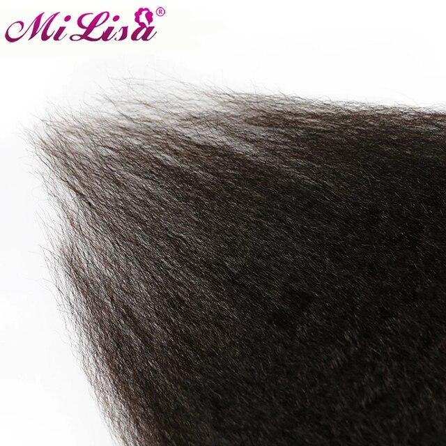 Mi Lisa Grof Yaki Kinky Straight Clip In Hair Extensions 100% Braziliaanse Remy Haar 8 Stuks En 120 G/set natuurlijke Kleur