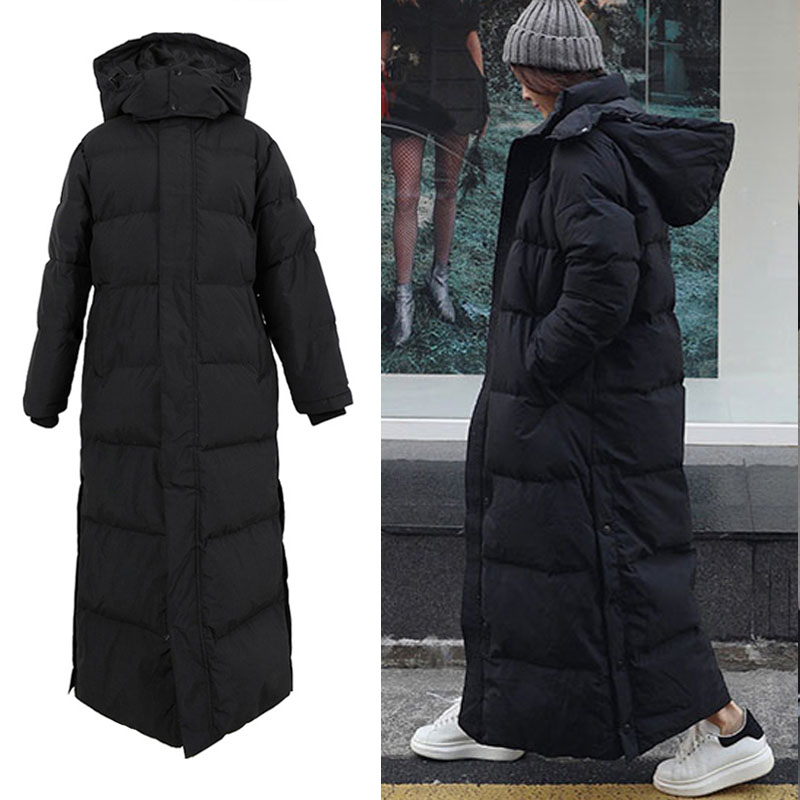 126cm winter thicker warm X-long fluffy 90%   down     coats   female oversize windproof ankle length warm duck   down   outerwear F225