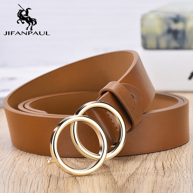 JIFANPAUL Genuine leather Women's alloy double ring buckle fashion adjustable belt retro punk ladies dress jeans student belts 6