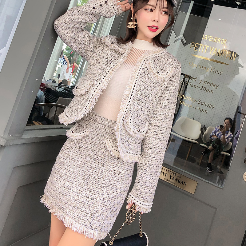 Women Two Piece Outfits Autumn Winter New Tweed Suits Fashion Tassel Short Jacket + Fringe Bodycon Mini Skirt Suits 2 Piece Set