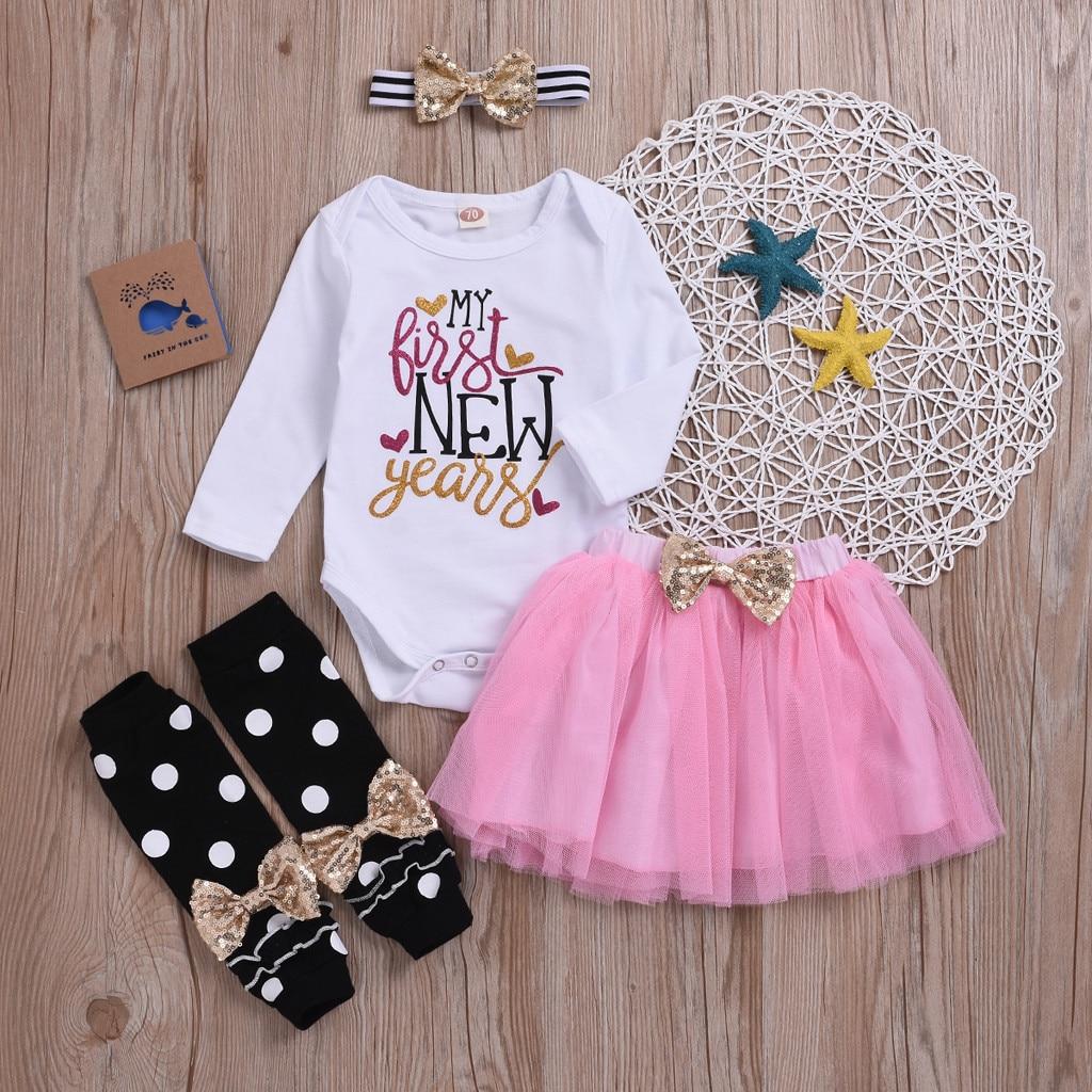 Toddler Baby Girl My 1st Birthday Dresses Cotton Outfits Set Bodysuit Long Sleeve Romper Tutu Skirt Leg Warmers with Headband