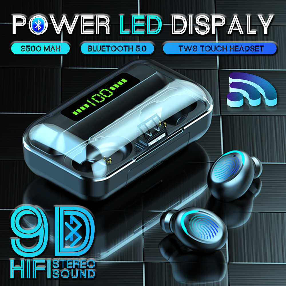 BTH-F9-5 3500mAh Power Bank Earphones Bluetooth Wireless Sport In Ear TWS Gaming Headset Noise Earbuds With Mic For IPhone Xiaom