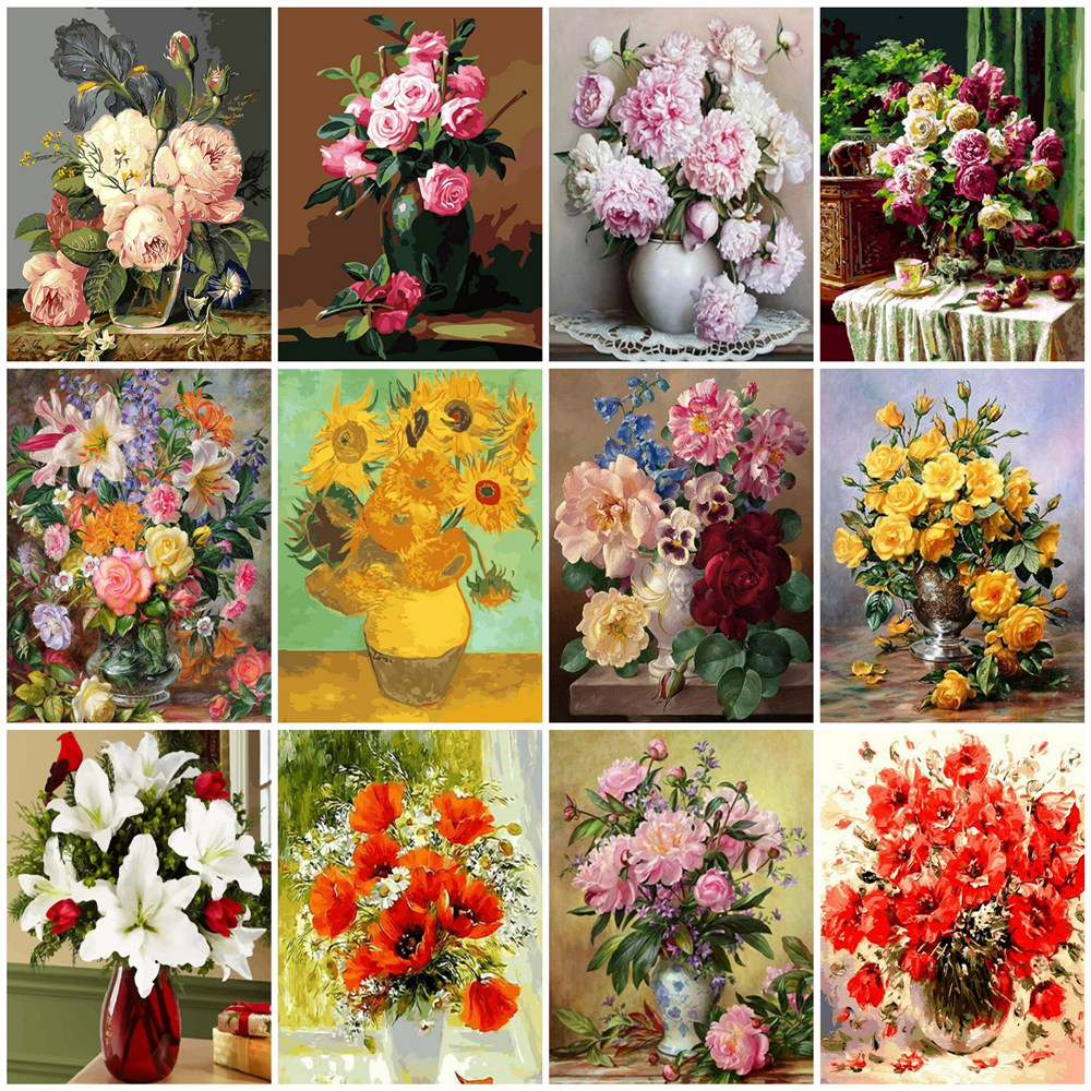 HUACAN Painting By Numbers Flower Drawing On Canvas HandPainted Picture Kits Art Gift DIY Home Decoration