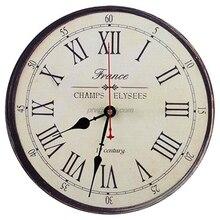 12 นิ้วRetroฝรั่งเศสสไตล์นาฬิกาโรมันตัวเลขพิมพ์แบตเตอรี่ดำเนินการรอบFrameless Silent Non Ticking Digital Quiet sw