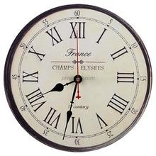 12 بوصة ريترو فرنسا نمط ساعة حائط الأرقام الرومانية المطبوعة بطارية تعمل مستديرة بدون إطار صامت غير موقوتة الرقمية هادئة Sw