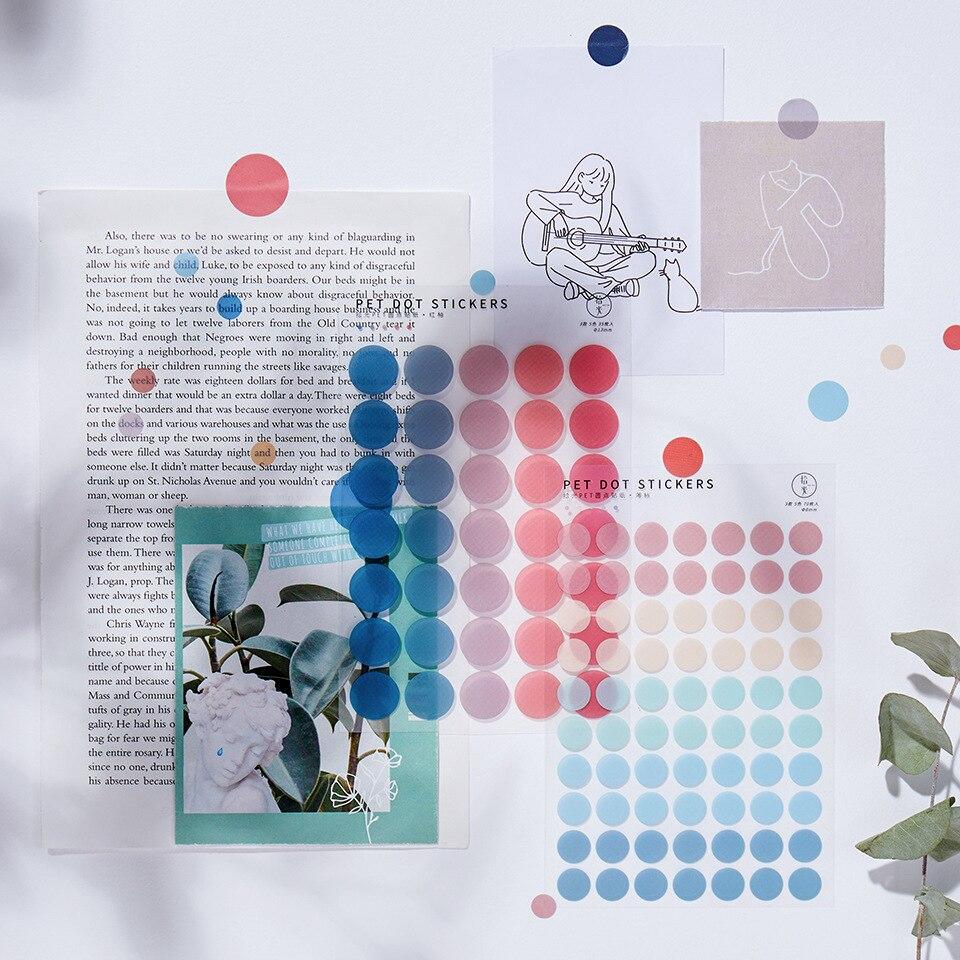 JIANWU 3 Blätter Einfache Frische Farbe Grundlage Dot PET Aufkleber Kawaii Dekoration Kreative Transparent DIY Journal Schule Liefert