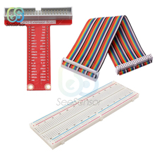 T-type GPIO Expansion Board + Raspberry Pi 40Pin Cable + MB-102 Breadboard PCB Bread Board For Raspberry Pi 3 2 Model B & B+ adeept diy electric new rfid starter kit for raspberry pi 3 2 model b b python with guide book 40 pin gpio board book diykit