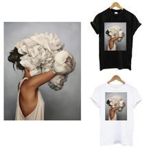 Autocollant thermo-appliqué esthétique fille sur vêtements fer sensible à la chaleur sur T-shirt fille transferts patchs bricolage fleur Patch décor