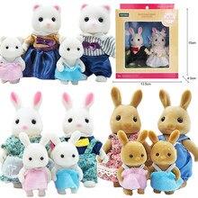 Symulacja dla dzieci rodzina zwierząt leśnych 1:12 meble do domku dla lalek śliczna figura miniaturowy królik dziewczyna Little Critters zabawki prezenty
